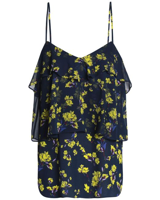 Goen.J - Blue Woman Tiered Floral-print Georgette Camisole Navy - Lyst