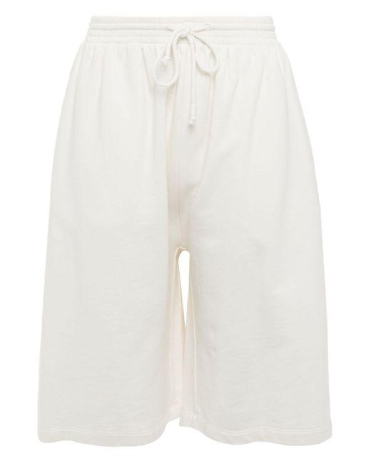 MM6 by Maison Martin Margiela White French Cotton-terry Shorts Ivory