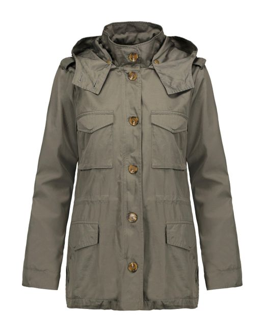 Joie - Hanni Hooded Satin-twill Jacket Army Green - Lyst