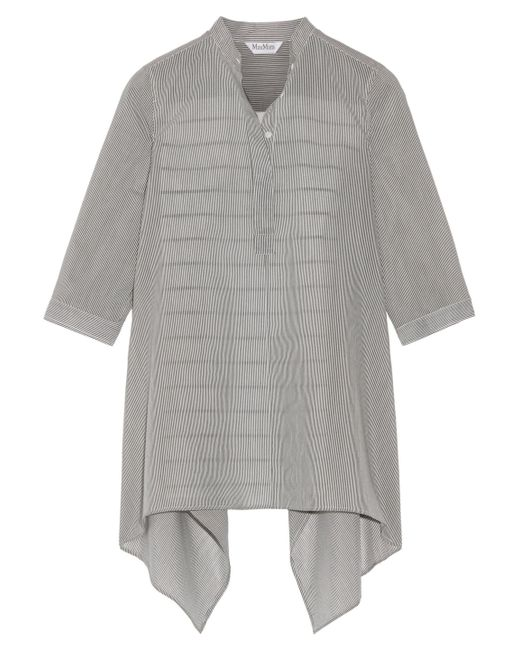 Max Mara - Gray Aderire Oversized Striped Cotton And Silk-blend Shirt - Lyst