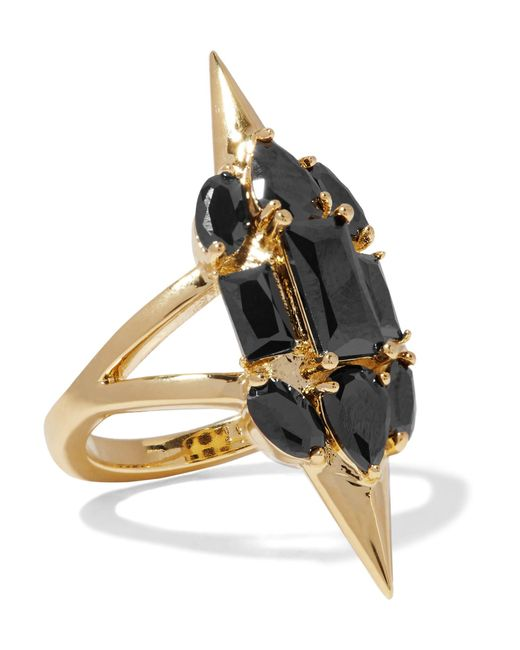 Noir Jewelry | Metallic Sharp Edges Gold-plated Crystal Ring | Lyst
