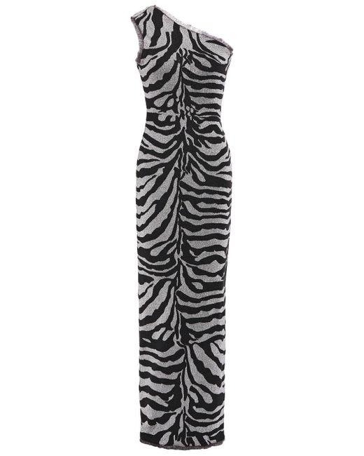 Hervé Léger Black Hervé Léger One-shoulder Frayed Metallic Zebra-jacquard Gown Animal Print