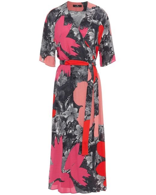 PS by Paul Smith Printed Crepe Midi Wrap Dress Red