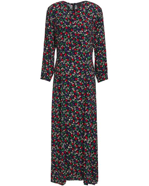 Anna Sui Pintucked Bow-detailed Floral-print Crepe Maxi Dress Black