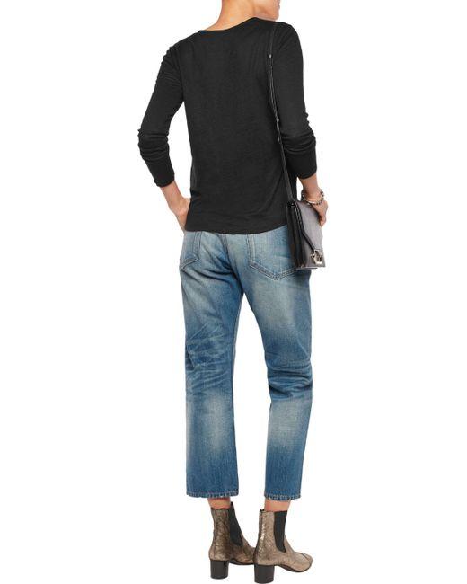 ... Sandro | Black Tina Lace-up Silk-paneled Linen Top | Lyst ...