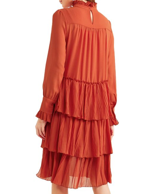 1d3d153ff7 Women's See By Chloé Tiered Ruffle-trimmed Georgette Dress Brick