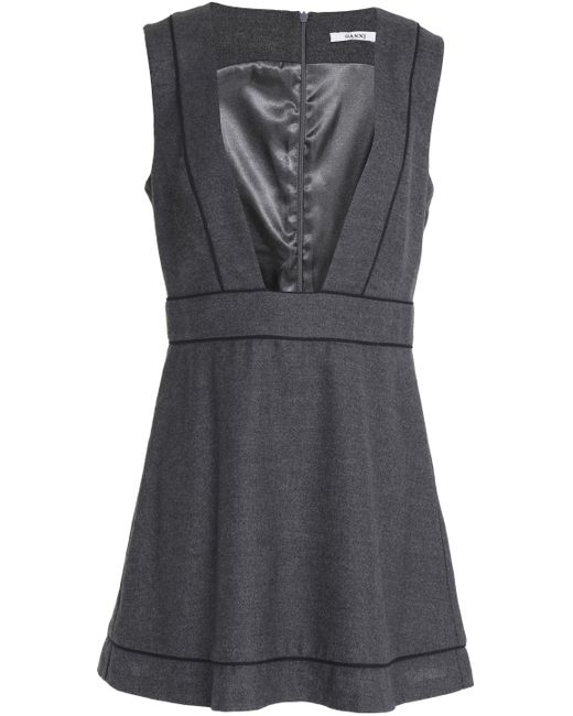 Ganni - Gray Wool And Cashmere-blend Mini Dress - Lyst
