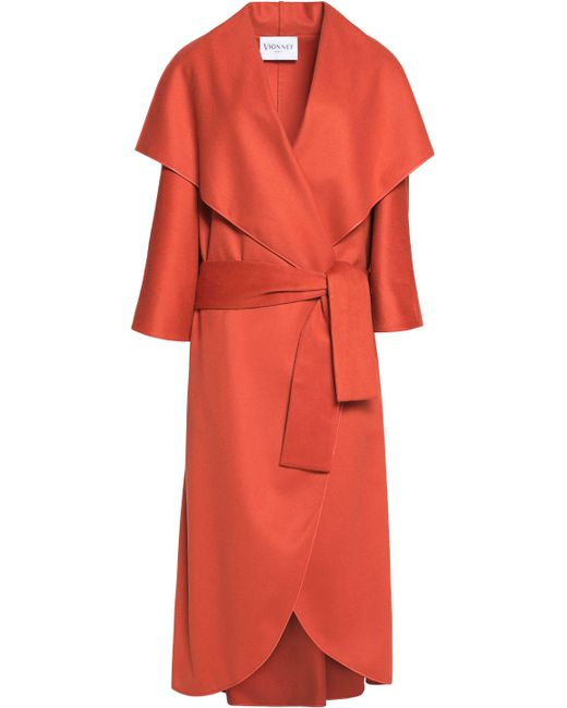 Vionnet - Orange Leather-trimmed Wool-felt Coat - Lyst