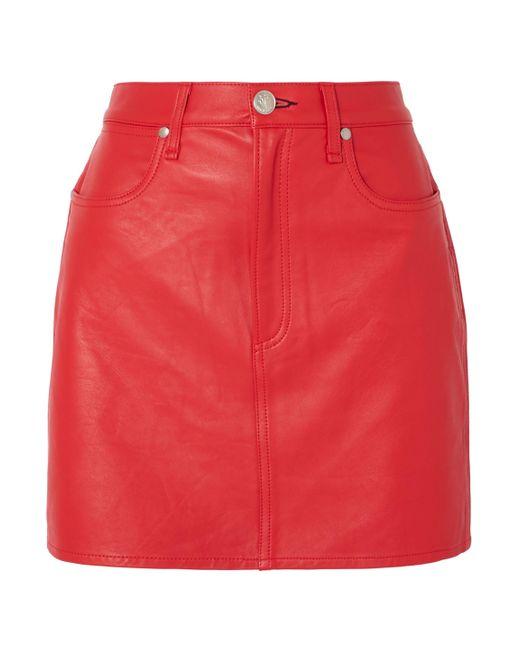 Rag & Bone Moss Leather Mini Skirt Red