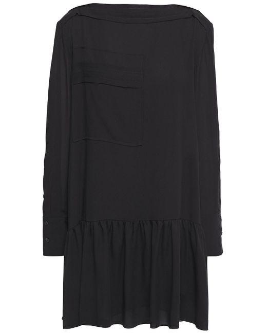 3.1 Phillip Lim Black Gathered Silk-crepe Mini Dress