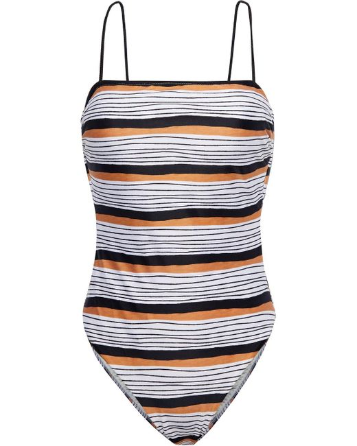 ViX Ava Suri Lace-up Striped Swimsuit White