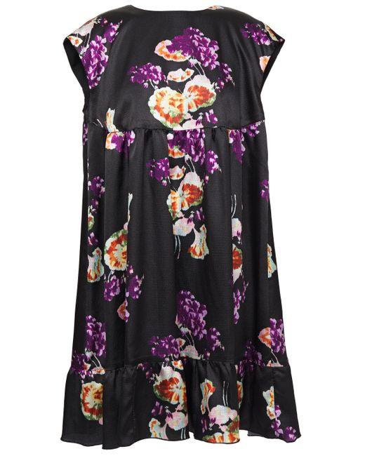 Anna Sui Bow-embellished Floral-print Hammered-satin Mini Dress Black