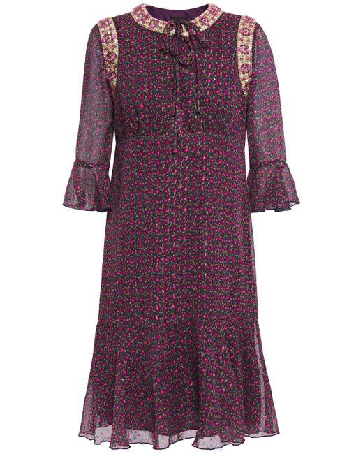 Anna Sui Purple Embellished Metallic Floral-print Fil Coupé Chiffon Dress Grape