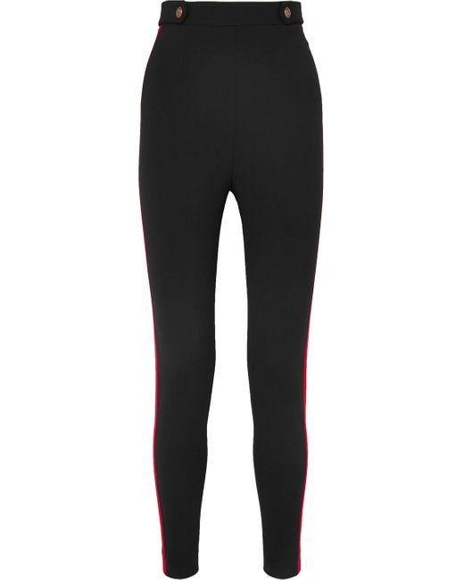 Alexander McQueen Grosgrain-trimmed Wool-blend Skinny Pants Black
