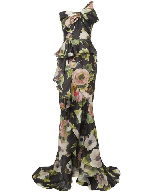 Marchesa Strapless Bow-embellished Floral-print Silk-moire Gown Black
