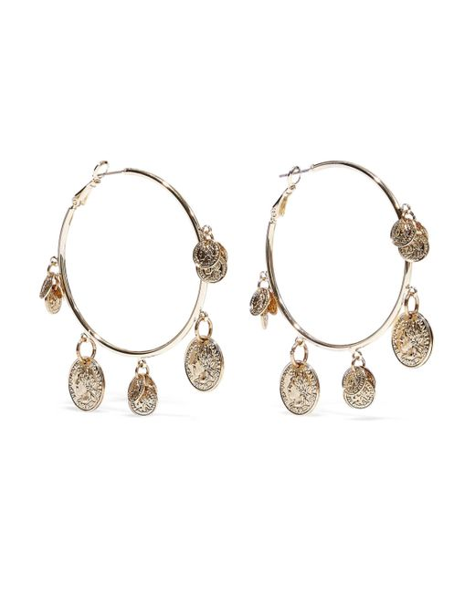 Kenneth Jay Lane Metallic 22-karat Gold-plated Hoop Earrings Gold