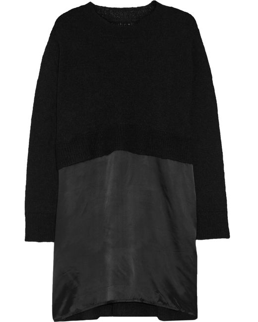 MM6 by Maison Martin Margiela | Black Satin-paneled Knitted Mini Dress | Lyst