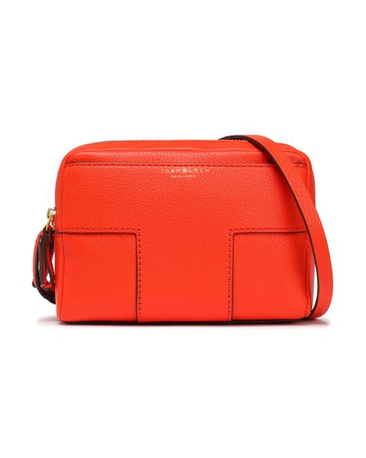 Tory Burch - Woman Textured-leather Shoulder Bag Bright Orange - Lyst