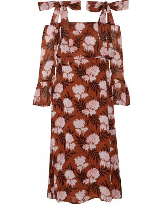 Ganni - Brown Monette Cold-shoulder Floral-print Georgette Dress - Lyst