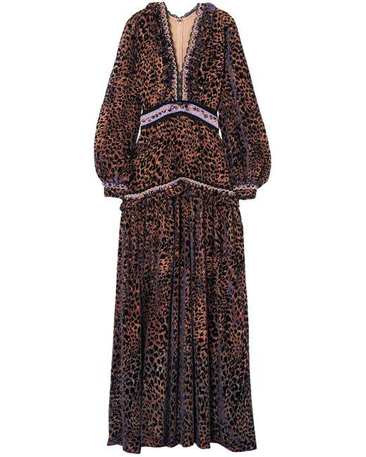Costarellos Multicolor Ruffle-trimmed Leopard-print Devoré-chiffon Gown Animal Print