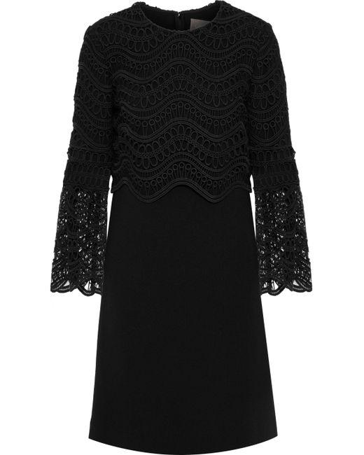 Lela Rose - Black Guipure Lace-paneled Wool-blend Crepe Mini Dress - Lyst
