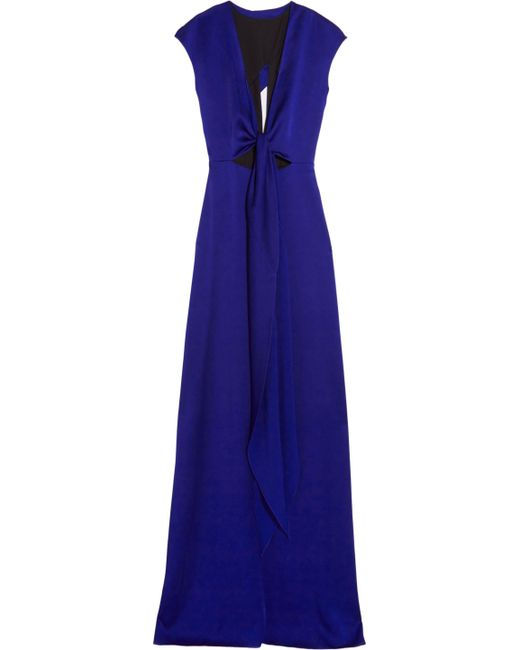 Victoria Beckham Woman Cutout Brushed-satin Gown Indigo Size 10 Victoria Beckham 04HnR2d5V