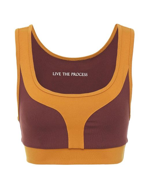 Live The Process Purple Geometric Zweifarbiger Sport-bh Aus Stretch-supplex® Größe L