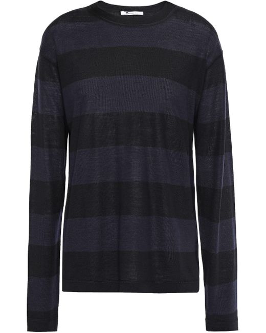 T By Alexander Wang Striped Merino Wool-blend Sweater Black