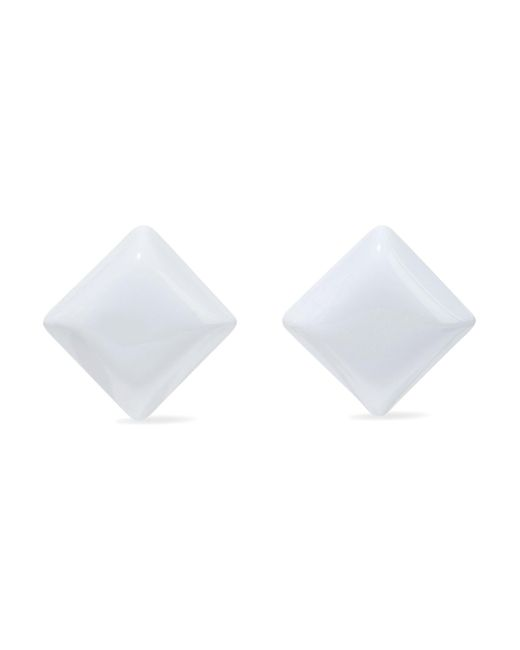 Kenneth Jay Lane - White Resin And Gold-tone Clip Earrings - Lyst