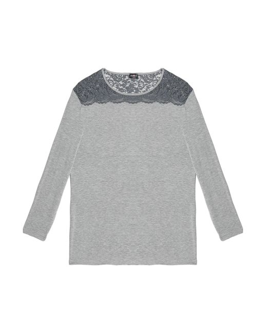 Cosabella - Gray Lace-trimmed Jersey Pajama Top - Lyst
