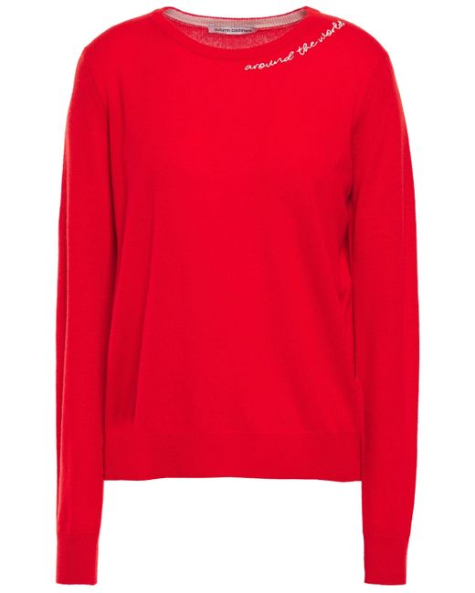 Autumn Cashmere Embroidered Cashmere Sweater Red