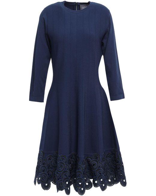 Lela Rose Blue Flared Guipure Lace-paneled Ponte Dress Navy