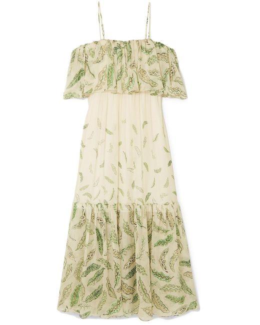Three Graces London Natural + Zandra Rhodes Diana Cold-shoulder Ruffled Printed Silk-chiffon Dress