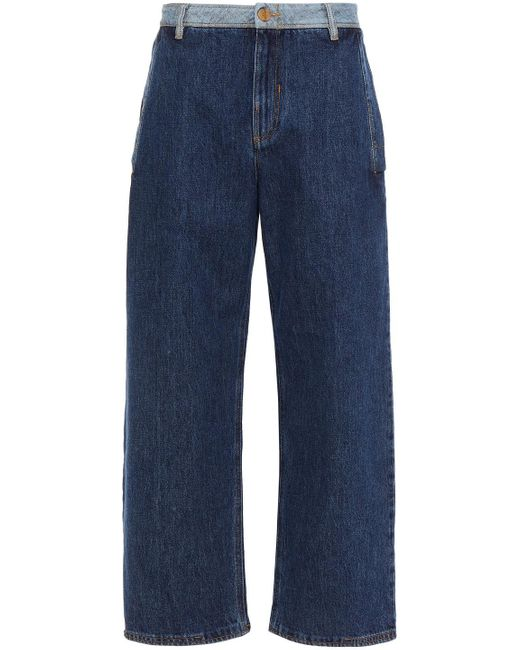 McQ Alexander McQueen Blue Two-tone High-rise Wide-leg Jeans Mid Denim