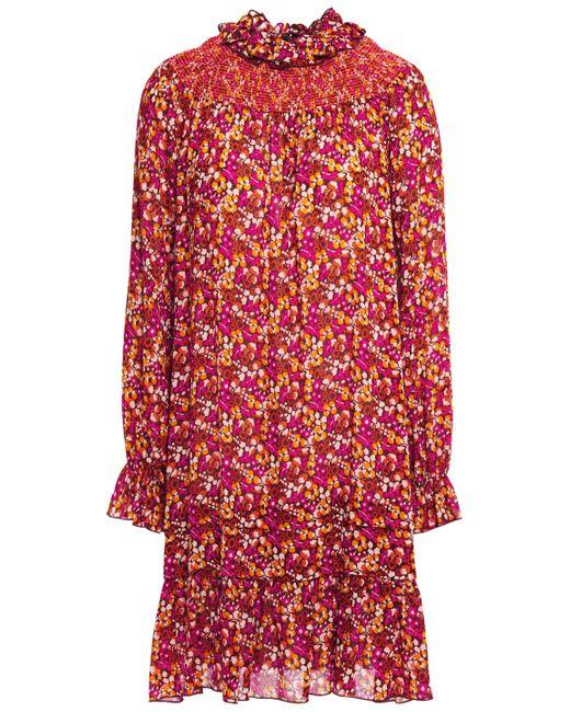 Anna Sui Ruffle-trimmed Shirred Floral-print Georgette Mini Dress Orange