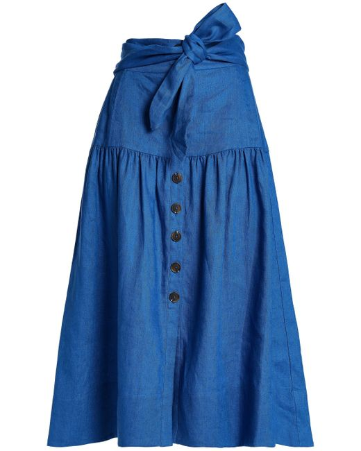 Sea - Woman Belted Gathered Linen Midi Skirt Blue - Lyst