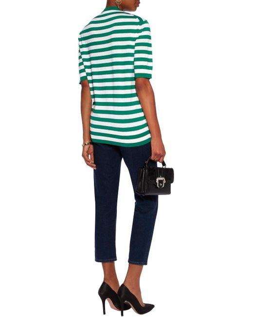 Dolce & Gabbana Appliquéd Striped Cashmere And Silk-blend Top Green