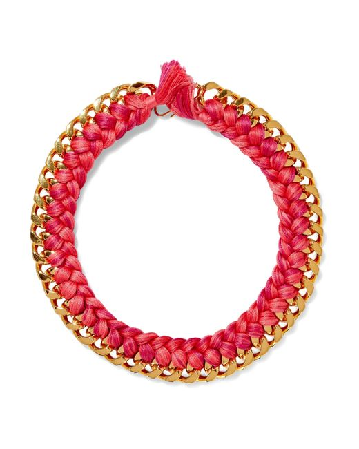 Aurelie Bidermann - Aurélie Bidermann Woman Brasil Gold-tone Braided Cord Necklace Pink - Lyst
