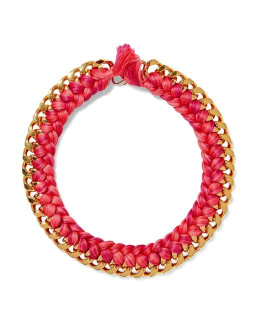 Aurelie Bidermann - Pink Brasil Gold-tone Braided Cord Necklace - Lyst