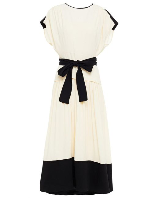 Proenza Schouler Natural Belted Twill-paneled Gathered Crepe Midi Dress