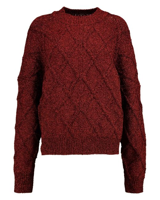 Isabel Marant - Red Metallic Cable-knit Sweater - Lyst