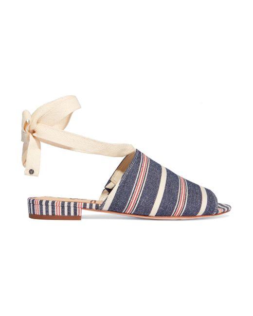Sam Edelman Blue Tai Striped Denim Sandals Mid Denim