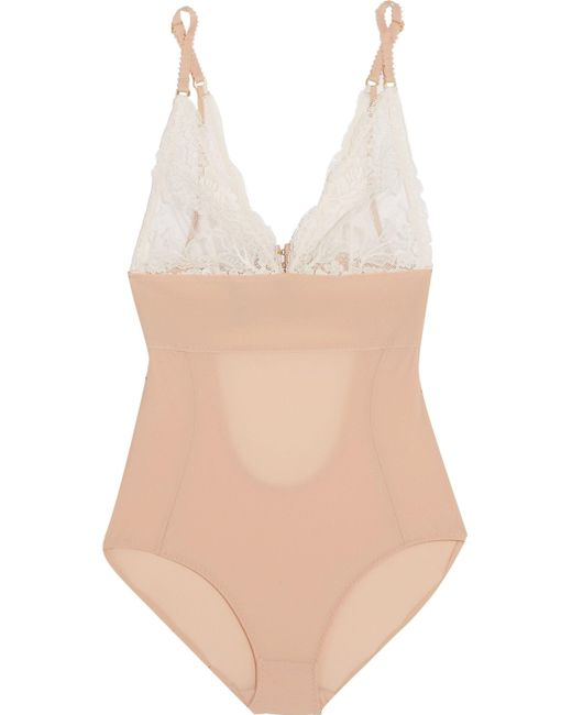 Stella McCartney | Pink Bella Admiring Lace-paneled Cutout Stretch-jersey Bodysuit Antique Rose | Lyst