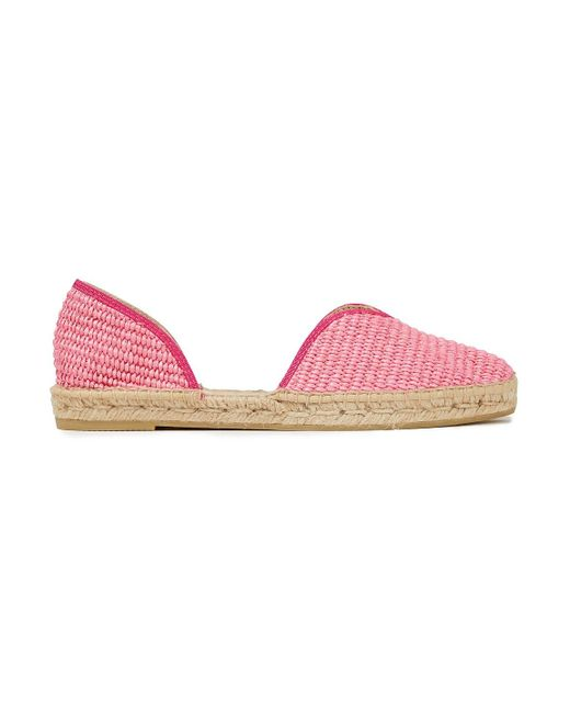 Manebí Pink Ebí Yucatan Grosgrain-trimmed Raffia Espadrilles