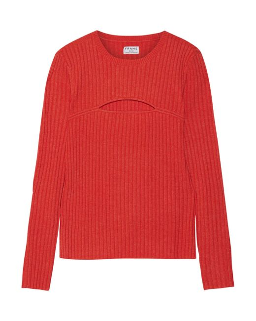 FRAME - Red Cutout Ribbed Merino Wool-blend Sweater - Lyst