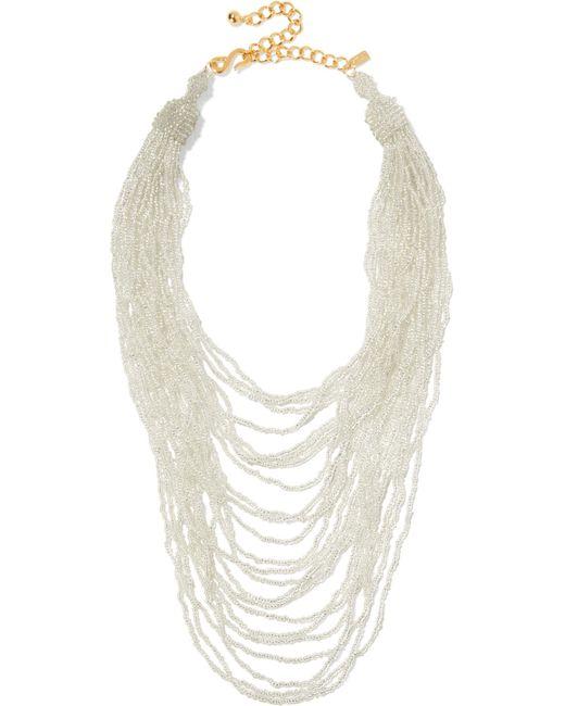 Kenneth Jay Lane - Metallic Gold-tone Beaded Necklace - Lyst