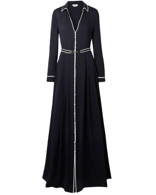 Gabriela Hearst Lempicka Pleated Silk-twill Maxi Dress Midnight Blue