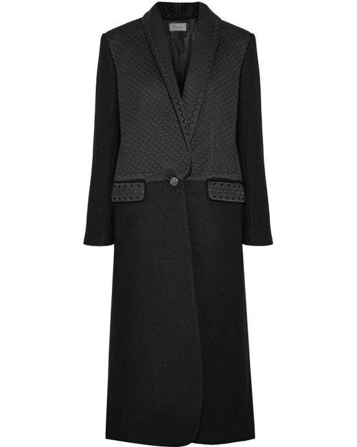 Temperley London - Black Dragon Metallic Embroidered Satin-paneled Wool Coat - Lyst