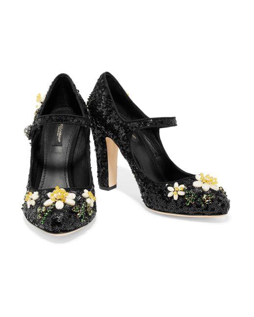 9476226f0260 ... Lyst Dolce   Gabbana - Black Floral-appliquéd Sequined Leather Mary  Jane Pumps ...