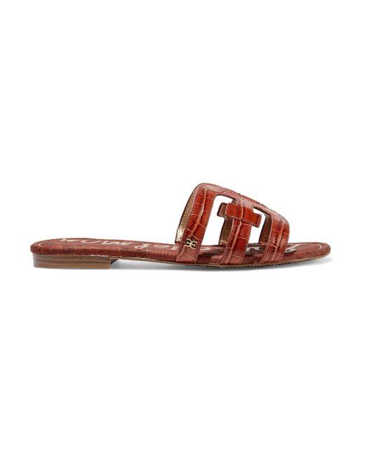 Sam Edelman Brown Bay Cutout Croc-effect Leather Sandals